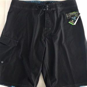 Burnside Black Swim Trunks UV Block Quick Dry new